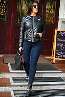 Черная женская демисезонная куртка большого размера