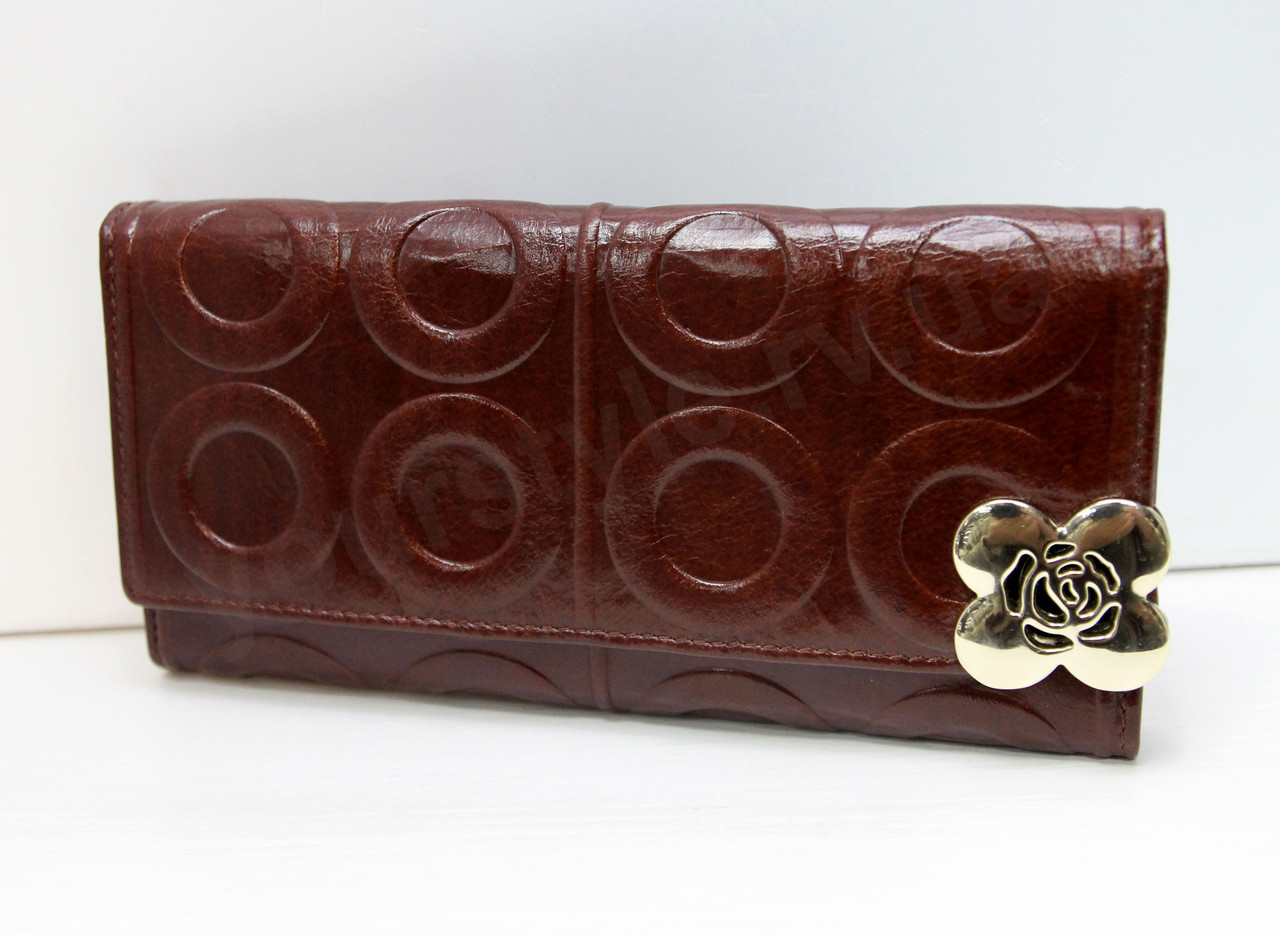 Женский кожаный портмоне картхолдер Salfiete шоколадного цвета