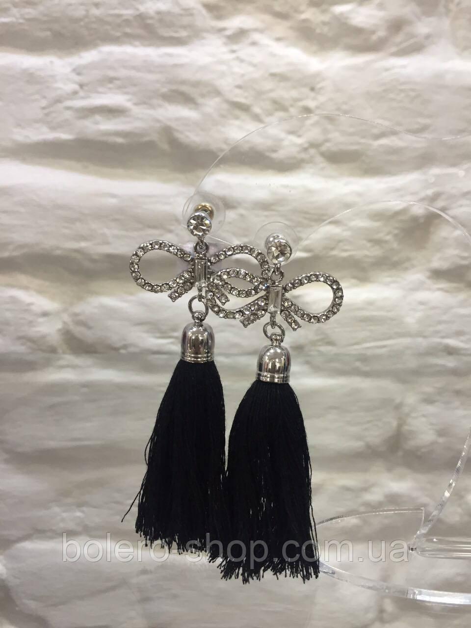 Висячі сережки з камінчиками чорними китицями жіноча італійська біжутерія