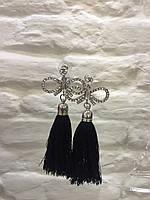 Серьги висячие с камушками черными кистями  женская итальянская бижутерия