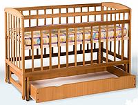 Кроватка детская на шарнирах + ящик (1200*600) (бук)