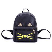 Черный маленький рюкзак Котик с ушками
