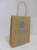 Пакеты с ЛОГОТИПОМ 180*80*250 мм коричневый крафт с ручкой., фото 1