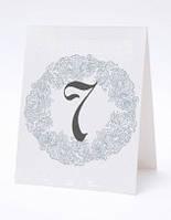 Номерок под номерки на свадебный стол в голубых тонах