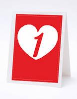 Номерок под номерки на свадебный стол в виде сердечка