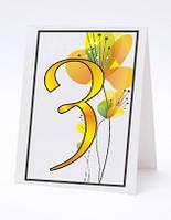 Номерок под номерки на свадебный стол в яркожелтых тонах