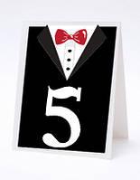 Номерок под номерки на свадебный стол в виде смокинга