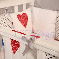 Комплект постельки для детской кроватки Baby Design сердца