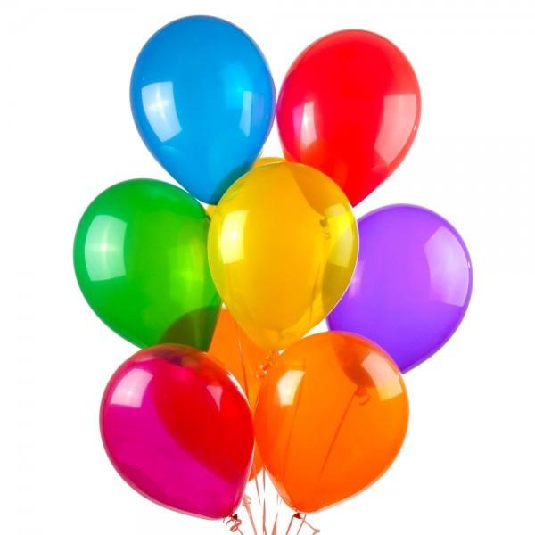 """Воздушные шарики ассорти КРИСТАЛЛ прозрачные 10"""" (25 см) латексные круглые шарики"""