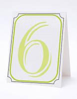 Номерок под номерки на свадебный стол в салатово-белых тонах