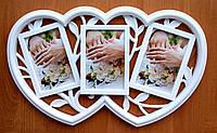 Мультирамка - сердце на 3 фото 10х15 белая