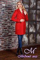 Осеннее женское пальто красного цвета  (р. S, M, L) арт. Вейси крупное букле 9019