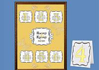 План рассадки свадебных гостей на желтом фоне