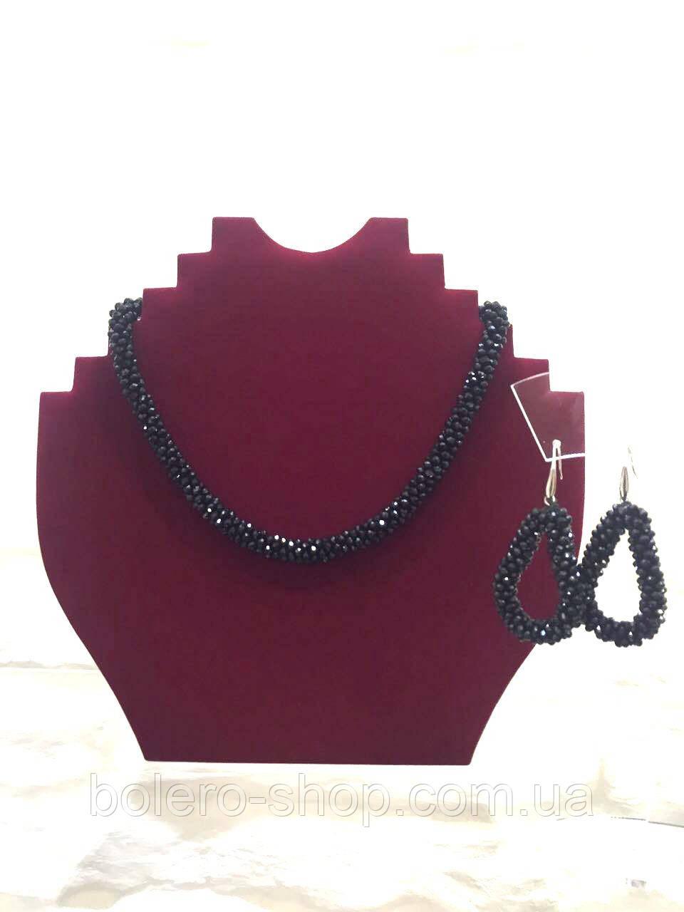 Брендовая женская бижутерия колье черное ожерелье плетенка