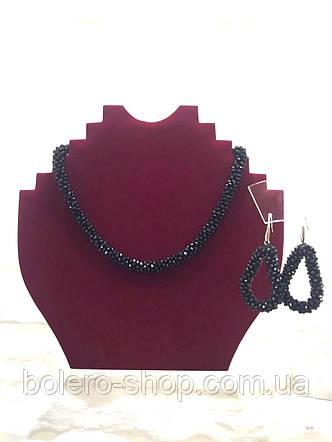Брендовая женская бижутерия колье черное ожерелье плетенка, фото 2