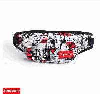 Поясна сумка Supreme (сіра з червоними вставками NYC)