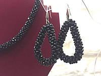 Серьги подвески большие черные  женская итальянская бижутерия
