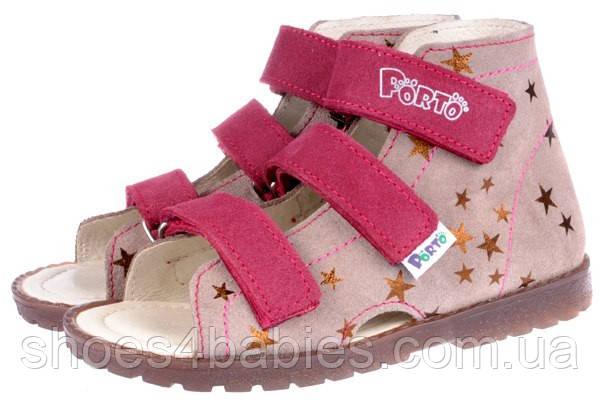 Детские профилактические босоножки р.31-36 MRUGALA для девочек розовые 1310-24