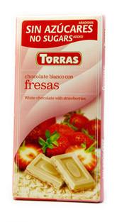Шоколад без цукру Torras білий з шматочками полуниці Іспанія 75г