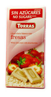 Шоколад без сахара Torras белый с кусочками клубники Испания 75г, фото 2