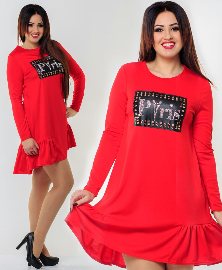 Платье батал трикотаж красное