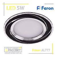 Светодиодный светильник Feron AL777 5W 400Lm 4000K черный (LED панель круглая) в натяжной потолок