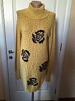 Свитер-платье  туника желтого цвета с черными розами  длинный рукав зима-осень Coconuda