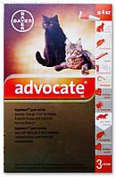 Advocate (Адвокат) капли на холку от блох и клещей для кошек до 4 кг, 1 пип. по 0,4мл, Bayer (Байер)