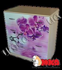 """Комод на 4 ящика (светлый) с фотопринтом """"Орхидея"""""""