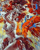 """Раскраска по номерам """"Танцовщица и яркие попугаи"""""""