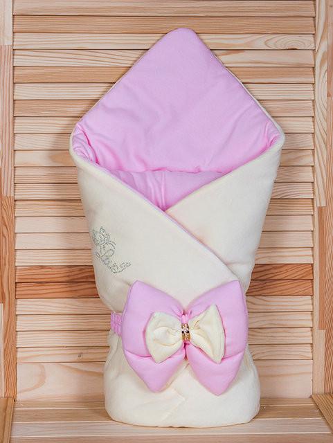 """Демисезонный конверт-одеяло для девочки, """"Бантик"""" кремовый+розовый"""