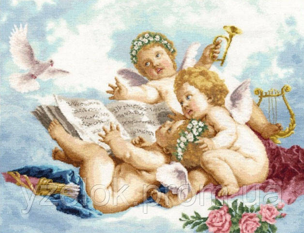 Вышивка ангел в облаках