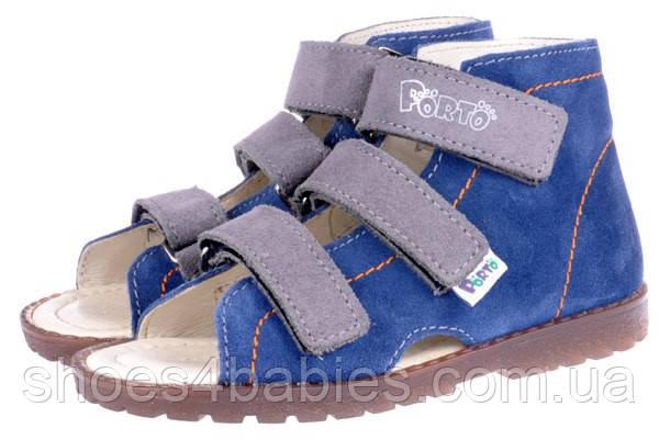 Детские профилактические босоножки р.31-36 MRUGALA для мальчиков синие 1310-68