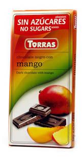 Шоколад без сахара Torras черный с кусочками манго Испания 75г, фото 2