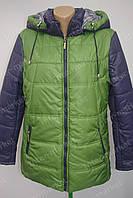 Красивая  женская куртка на замке с капюшоном сине-зеленая