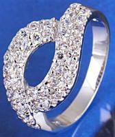 Кольцо Лагуна белая позолота Gold Filled с цирконами (GF472) Размер 17
