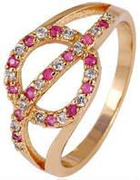 Кольцо позолота Gold Filled с белыми и рубиновыми цирконами (GF440) Размер 17