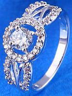 Кольцо белая позолота с цирконами Размер 17 (gf702