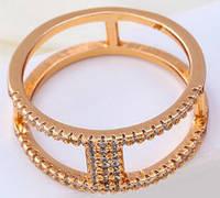 Кольцо двойное позолота gold filled россыпь цирконов (gf617) Размер 16