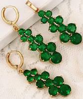 Набор серьги, кулон, цепочка позолота зеленые цирконы (GF720