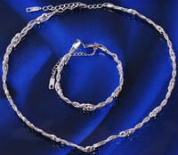 Набор белая позолота: колье и браслет (GF742
