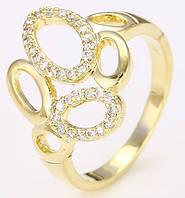 Кольцо позолоченное gold filled с цирконами GF956 размер 18