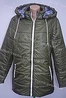 Красивая женская куртка с капюшоном хаки 52р,54р,56р,58р