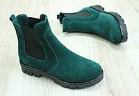 Весенние зеленые ботинки на резинке