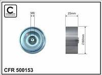 Ролик ремня генератора обводной (металл) генератора ГУР + кондиционер Caffaro 500153