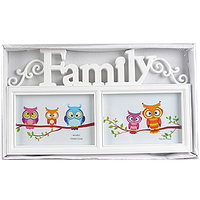 Фоторамка на 2 фото с надписью семья