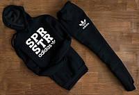 Чёрный спортивный трикотажный костюм Adidas spr str с капюшоном   white logo