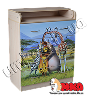 """Комод с пеленаторм 4 ящика (клен) с фотопринтом """"Мадагаскар"""""""