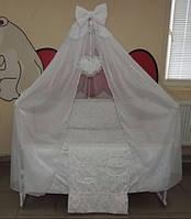 Комплект детского постельного белья Жаккард белый Подарочный Gold 9 в 1, фото 1
