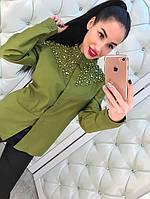 Рубашка женская котон+бисер